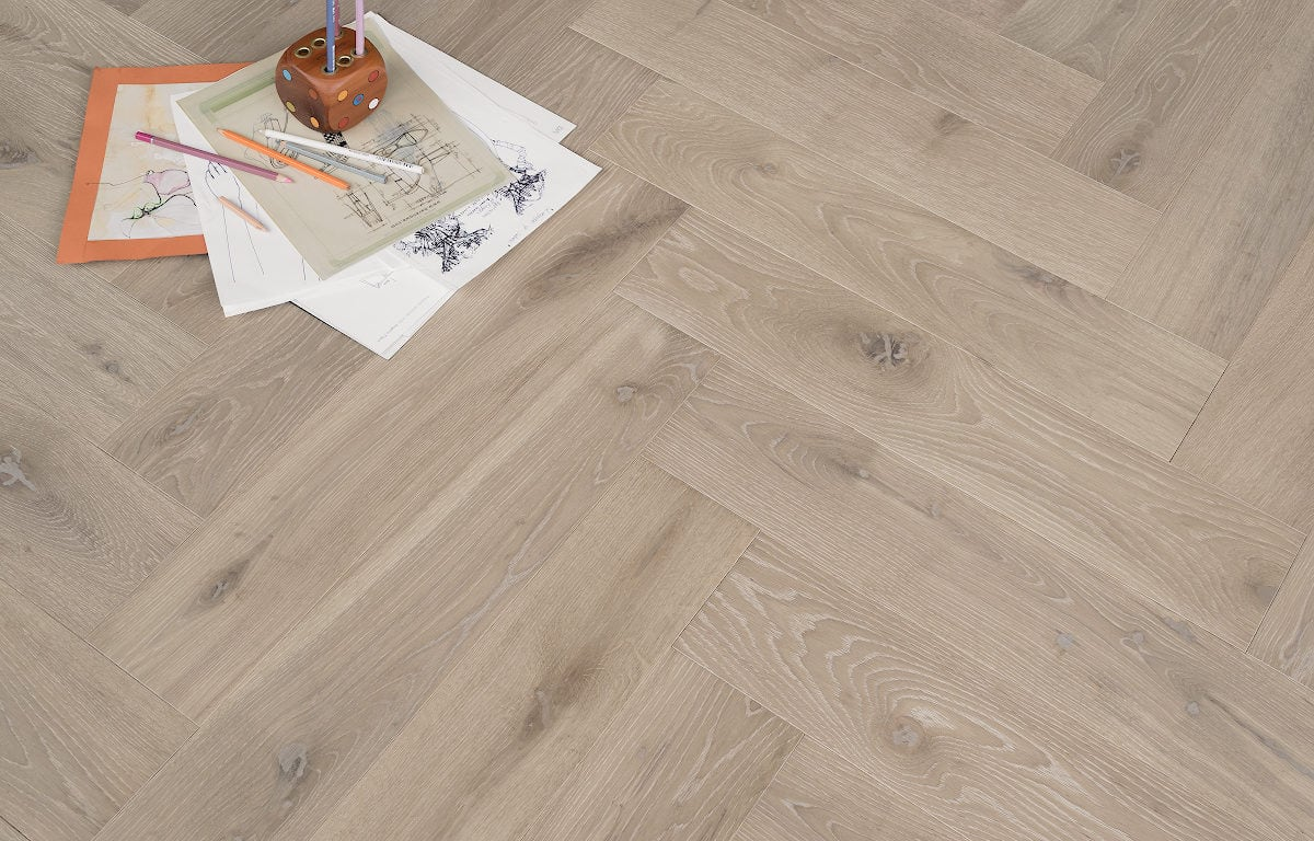 Grey engineered hardwood